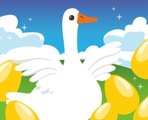 Goose and Golden Egg : Vector Illustration