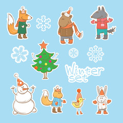 Vector winter set with cartoon forest animals, a snowman and firtree.
