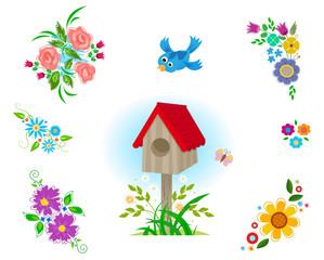 Flowers Clip art - Decorative set of six different flowers arrangements, bird house and a flying bird. Eps10