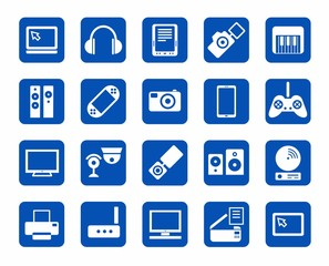 Icons, photo & video equipment, audio equipment, blue background.