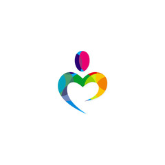 love colorful abstract heart logo