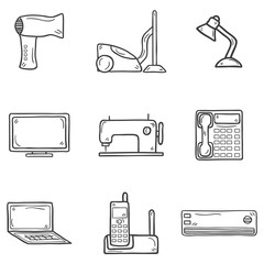 Set of cartoon hand drawn objects on home appliance theme