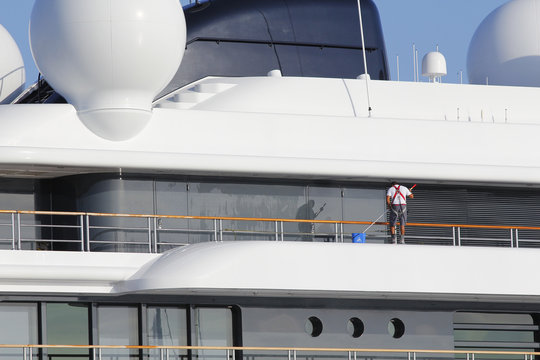 Luxury yacht being cleaned
