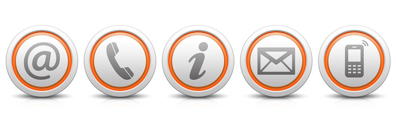 Contact Us – Set of light gray buttons with reflection & orange