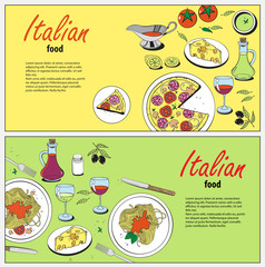 Vector cooking banner template with hand drawn objects on italian food theme: pizza, pasta, tomato, olive oil, olives, cheese, lemon, sauce. Ethnic cuisine concept. Italian cuisine hand drawn objects