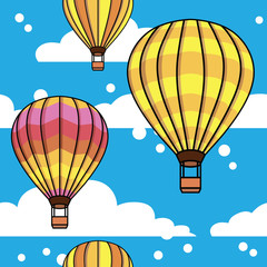 vector pattern with clouds and balloons
