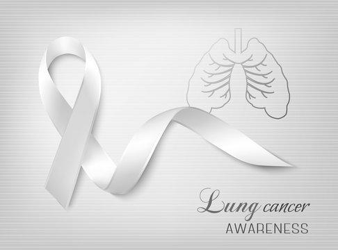 Lung cancer awareness ribbon. Vector.