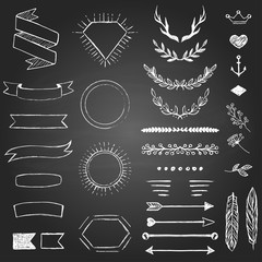 Set of hand drawn elements for design