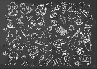 Back to school vector drawing background on chalkboard