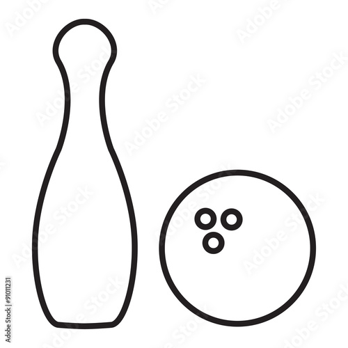 Quot Outline Bowling Pins And Bowling Ball Quot Stock Image And