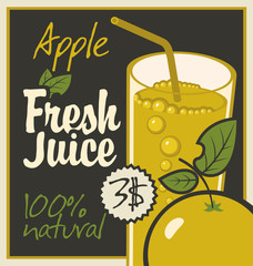 Vector banner with apple and a glass of juice