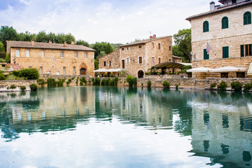 """the """"Square of sources"""" in Bagno Vignoni, Tuscany, Italy"""