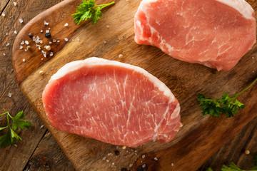 Wall Mural - Raw Organic Boneless Pork Chops