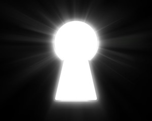 Keyhole and bright rays of light.