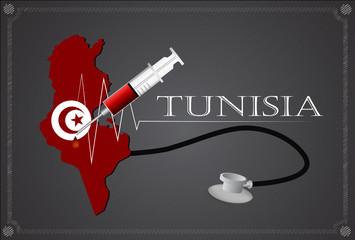 Map of Tunisia with Stethoscope and syringe.