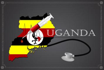 Map of Uganda with Stethoscope and syringe.