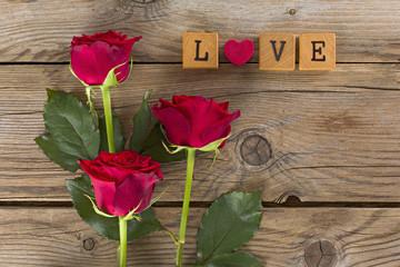 Pannello tre rose love