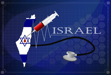 Map of Israel with Stethoscope and syringe.