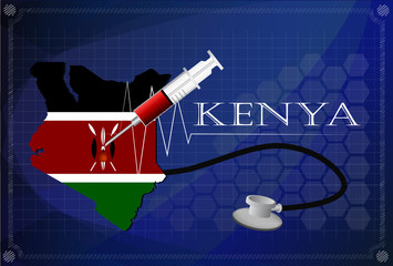 Map of Kenya with Stethoscope and syringe. Wall mural
