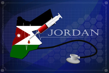 Map of Jordan with Stethoscope and syringe.