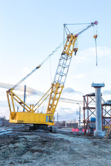 crane on construction of new bridge