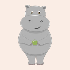 Cute smiling hippo with an apple