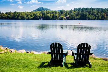 Adirondack chairs. Mirror Lake, Lake Placid New York. Summer, vacation, outdoors, travel, explore, nature, camping, lake and mountain vacation concept