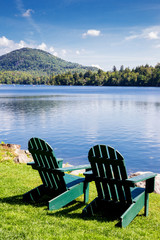 Adirondack chairs. Mirror Lake, Lake Placid New York. Summer, vacation, outdoors, travel, explore, nature, camping, lake and mountain vacation concept