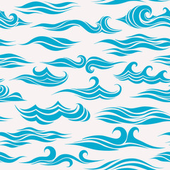 seamless pattern of stylized waves on gray background