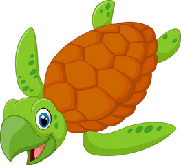 Cartoon smiling turtle. vector illustration