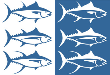 Stylized tuna fish icon set including three types of tuna - albacore, bluefin and yellowfin.