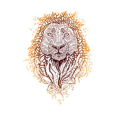 Graphic colored vector lion.