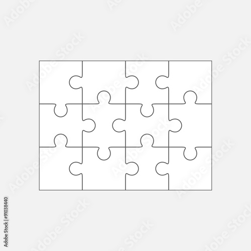 Jigsaw Puzzle Blank Template 4x3 Twelve Pieces Stock Image And