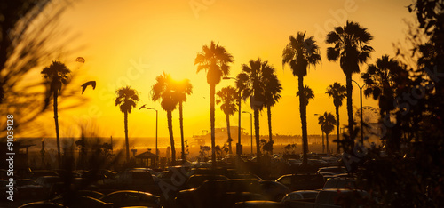 Gorgeous golden sunset at Los Angeles beach