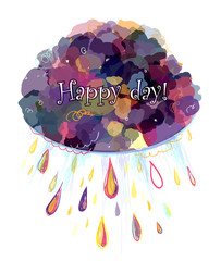 Cheerful colorful abstract background - cloud with rain