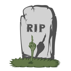 "A gray gravestone with grass and RIP text and scary fingers from the grave (showing the international ""fuck off"" sign)"