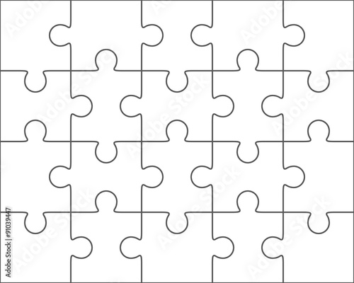 Jigsaw Puzzle Blank Template 4x5 Twenty Pieces