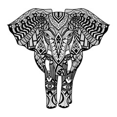 Ethnic patterned head of Elephant on white background/ african / indian / totem / tattoo design. Use for print, posters, t-shirts,logo,coloring page