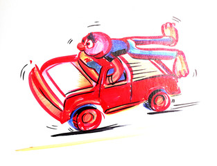 Character of red man on a red car