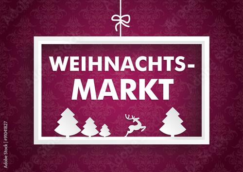 rahmen mit dem wort weihnachtsmarkt auf einer tapete mit ornamenten stock image and royalty. Black Bedroom Furniture Sets. Home Design Ideas