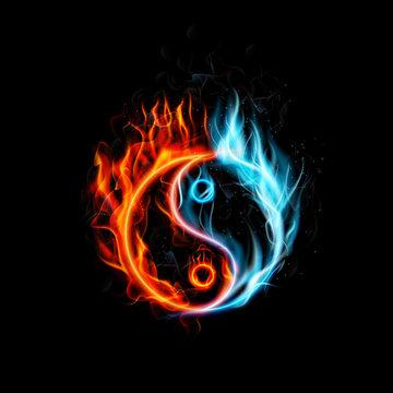 Fire burning Yin Yang with black background