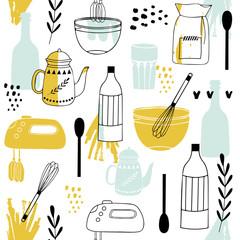 Estores personalizados con tu foto Vintage kitchen set in vector on white background.