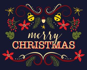 Merry christmas card on dark background. Vector design.