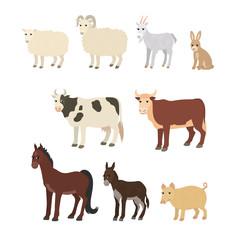 Cartoon set sheep goat donkey horse cow bull pig rabbit