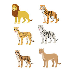 Cartoon set lion tiger leopard white tiger puma ocelot.