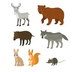 Cartoon set northern deer bear boar wolf rabbit squirrel mouse