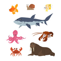 Cartoon set goldfish snail shark fish butterfly octopus crab walrus lobster
