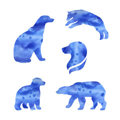 Polar bear vector watercolor silhouettes.