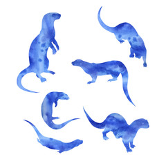 Vector watercolor silhouettes of a otter