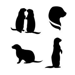 Prairie dog vector silhouettes.